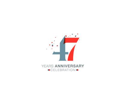 47 years anniversary or birthday celebration design template Vector.