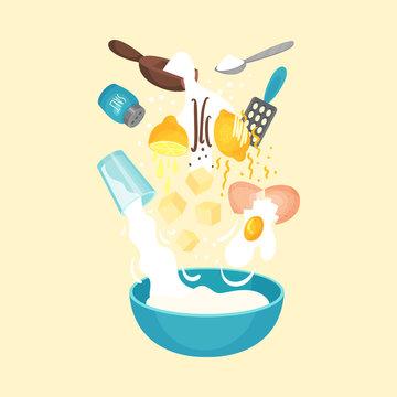 Floating Ingredients for Baking Lemon Cookies Vector Illustration