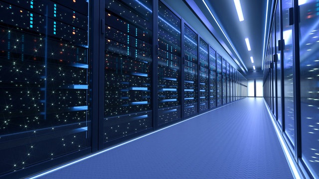 Working Data Center Full of Rack Servers and Supercomputers, Modern Telecommunications, Artificial Intelligence, Supercomputer Technology Concept.3d rendering,conceptual image.