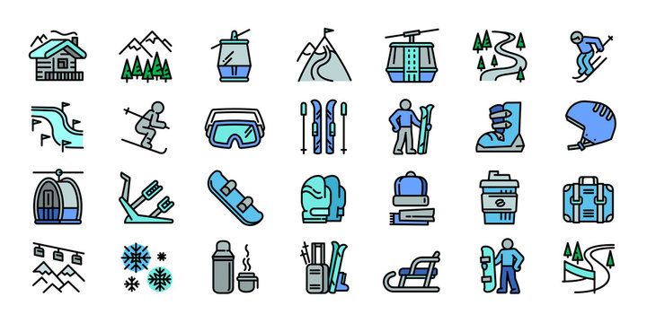 Ski resort icons set. Outline set of ski resort vector icons for web design isolated on white background