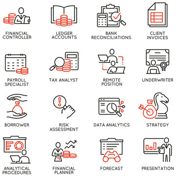 Vector Set of Linear Icons Related to Finance Report, Current Accounting and Finance Jobs. Mono Line Pictograms and Infographics Design Elements