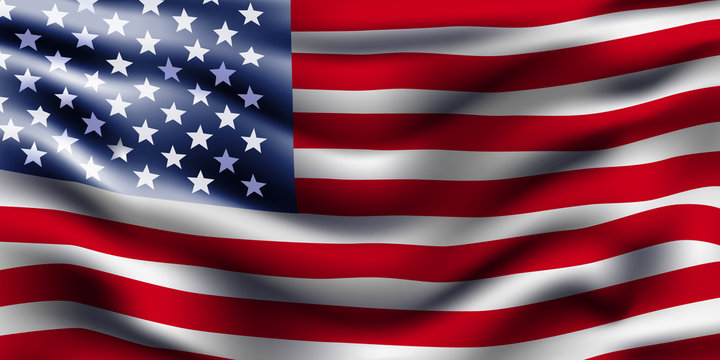 American flag waving. Vector background for patriotic and national design. Vector illustration