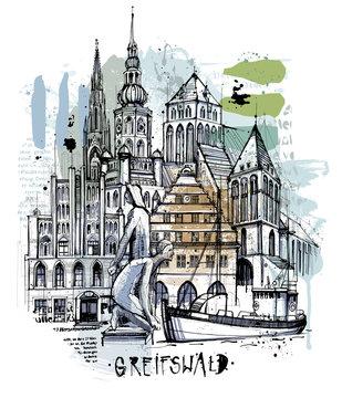 Handgezeichnete Greifswald Skizze auf einer Ebene reduziert