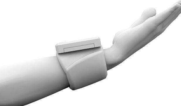 手首式血圧計 横 背景白