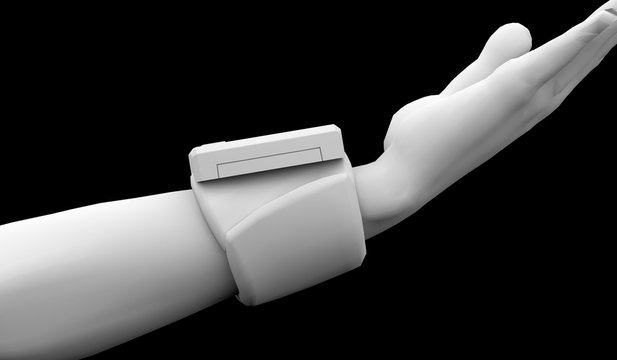 手首式血圧計 横 背景黒