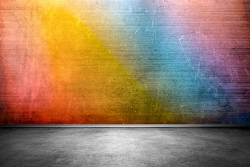 Colorful brick wall interior, grunge background