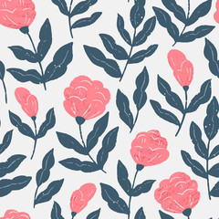 Vector seamless pattern with detailed hand drawn flowers - blooming peony. Spring background