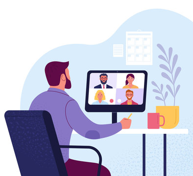 Video conference. Vector illustration of a man in suit communicates with colleagues via video callfrom home