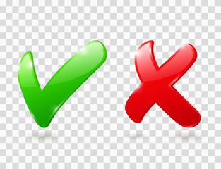 Fototapeta Cross and check mark icons. Green and red 3d ticks for right and wrong choice. Yes and No buttons. Vector glossy symbols of correct choose and cancel, accept and reject. Positive and negative signs obraz