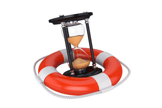 Hourglass in a lifebuoy, 3D render