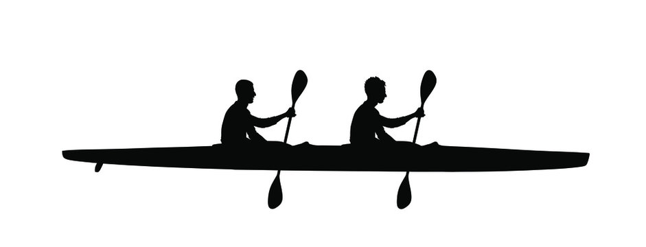 Teamwork of two kayakers paddling double kayak in competition race vector silhouette isolated. Sport man crew in kayak boat racing. Weekend team building on river. Sport canoe duo rowing in sprint.
