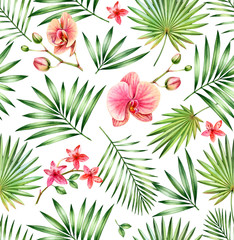 Watercolor tropical seamless pattern. Pink orchid flowers and palm leaves isolated on white. Botanical hand drawn floral background for surface, textile, wallpaper design