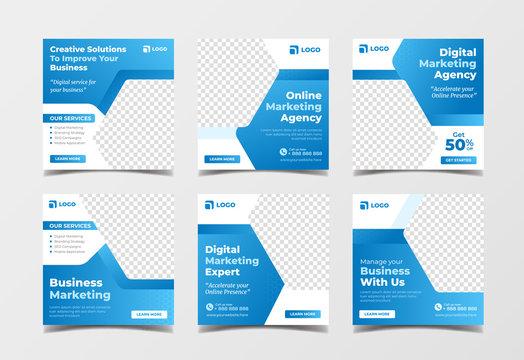 Online digital marketing agency banner for social media post template