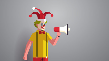 first april fool day man in funny jester hat and clown mask holding loudspeaker holiday celebration concept horizontal portrait vector illustration Wall mural