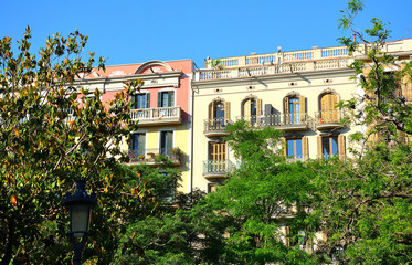 Traditional Facade with Balconies in a Modernist House in Barcelona, Spain