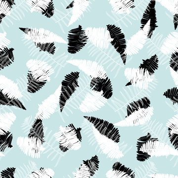 Vector black and white green mint artistic fern leaves print seamless pattern. Suitable for fabric, wallpaper and gift wrap.
