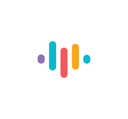 Voice recognition app logo. Audio equalizer logotype. Sound recorder,online microphone sign. Colorful music icon. Isolated rating, progress vector illustration.