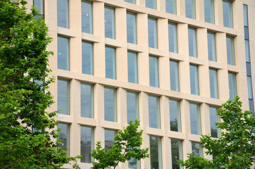 Symmetrical Windows on a Building Facade in Barcelona, Spain