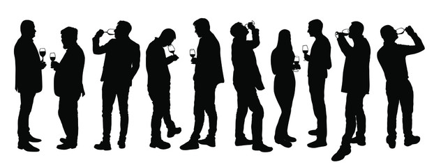 Obraz Business people meeting and drinking wine vector silhouette isolated on white. Friends toasting relaxation after work. Boys drink beer in bar. Social live celebration with beverage. Girl and boy love. - fototapety do salonu
