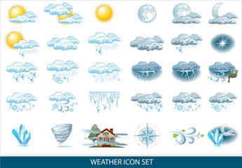 Fototapeta Vector weather forecast icon with bright background. Weather icons for your infographics and design