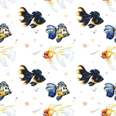 Golden fish in water. Seamless pattern. Watercolor collection. Hand drawn illustration.