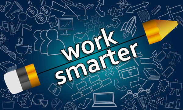 Pencil with Work Smarter concept on doodle background