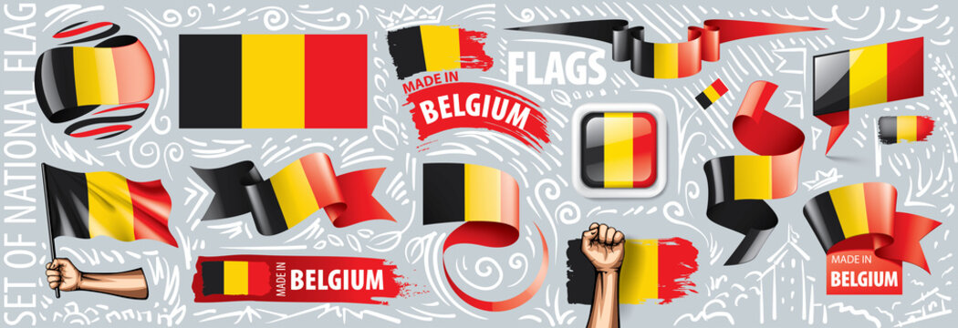 Vector set of the national flag of Belgium in various creative designs