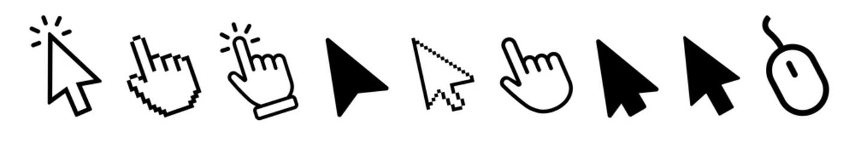 Vector cursors icons click set
