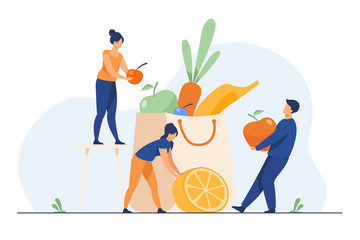 People keeping healthy diet. Man and woman packing paper bag with fresh fruit and vegetables. Vector illustration for organic nutrition, dietitian, vegan or vegetarian food concept
