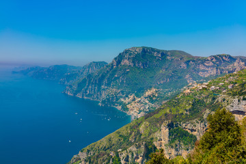"""Aerial view of Positano town and Amalfi coast  from hiking trail """"Path of the Gods""""."""