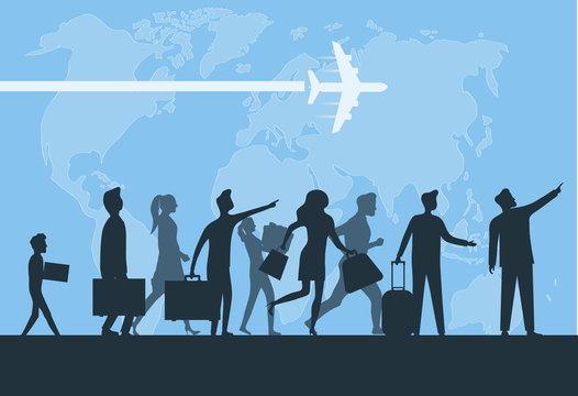 Immigration. Mini people migrate to developed countries. The concept of migration of people against the background of the Earth. Vector illustration