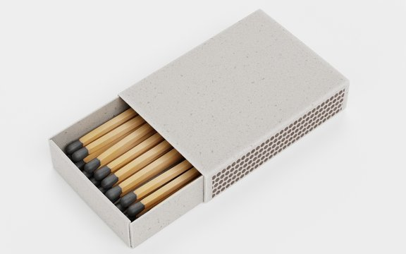 Realistic 3d Render of Box of Matches