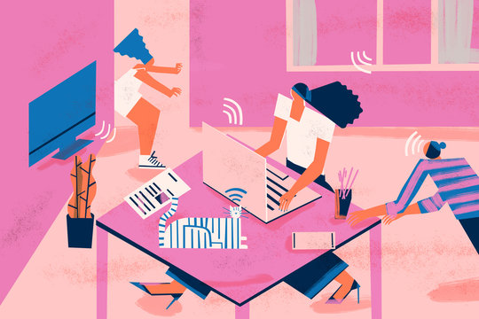 Work from home challenges: homelife distractions in workspace, such us family, tv, smartphone, cat, environment and social media.