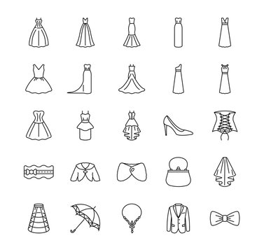 Flat Icons set of varieties of wedding dresses and accessories. Different styles of wedding dresses. Vector illustrations to indicate product categories in the online bridal store.