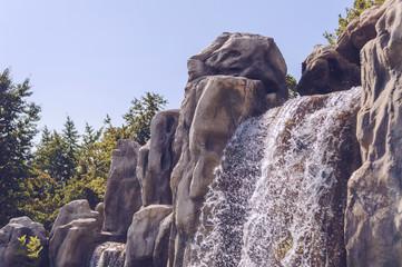 sparkling in sunlight waterfall