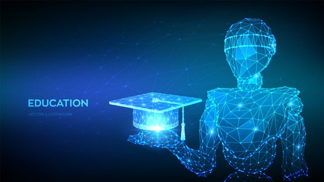 E-learning concept. Abstract 3d low polygonal robot holding Graduation cap or Student hat. Innovative online education. Distance graduate certificate program. Academic study. Vector illustration.