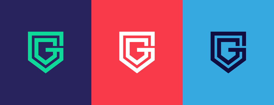 G shield logo . letter G in the shield . strong and bold logo design . modern and clean G logo. vector illustration eps10