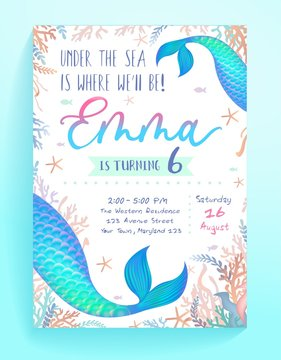 Under sea where well be party invitation template vector illustration. Fish tails flat style. Bright decoration for festive card. Birthday and childhood concept. Isolated on blue background