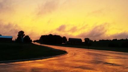 Fototapeten Gelb Empty Country Road Along Landscape