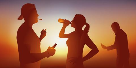 Concept de la lutte contre l'addiction au tabac et à l'alcool avec trois jeunes qui boivent de la bière en fumant des cigarettes ou de la drogue.