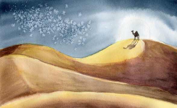 Hand painted watercolor night desert landscape with sand dunes, moon, stars and camel