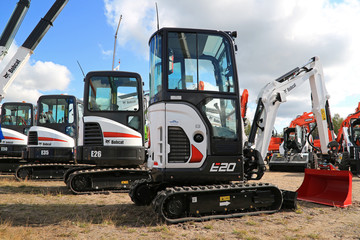 Bobcat Compact Excavators on Display. Illustrative Editorial Content.