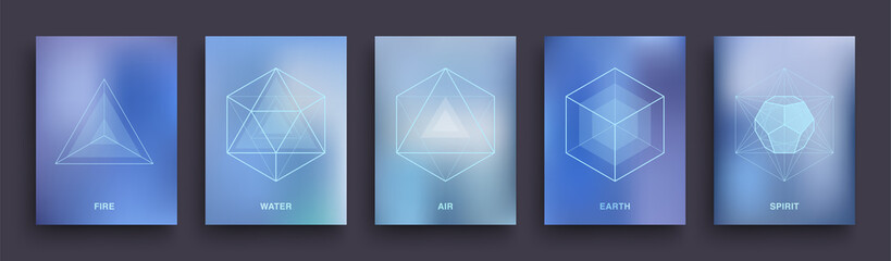 Set of Mystic Esoteric Posters. Sacred Geometry Covers Template Design. Five Minimal Ideal Platonic Solids. Tattoo Neon Hipster Backgrounds. Astrology & Astronomy Banners. Vector Illustration EPS 10