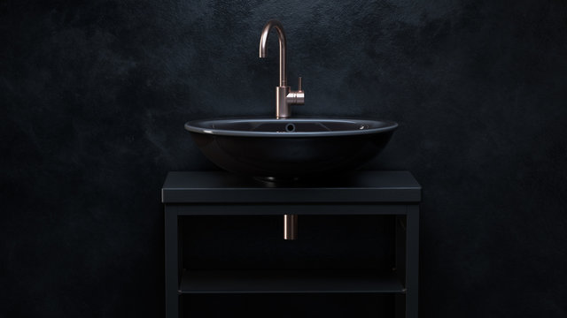 3d render. Black ceramic sink with iron water tap on wooden pedestal in room with black walls.