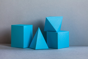 Platonic solids figures geometry. Abstract turquoise color geometrical figures still life...
