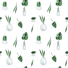 Seamless pattern with cute colorful hand drawn plants pots. Botany watercolor illustration. Isolated