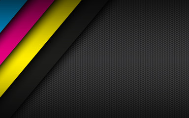 Black modern material background with stripes in cmyk colors and hexagonal mesh pattern. Template for your business. Vector abstract widescreen background