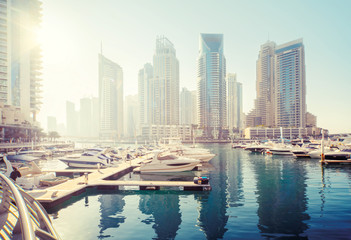 Fotomurales - Dubai Marina at sunset, United Arab Emirates