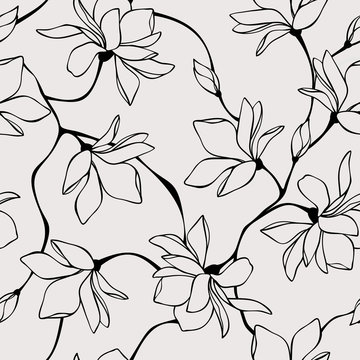 Vector seamless floral pattern with magnolia flowers. Line art illustration.