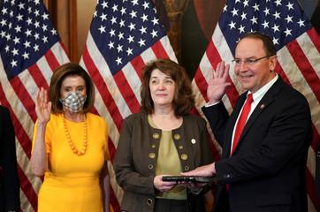 Speaker of the House Nancy Pelosi wears a mask in Washington
